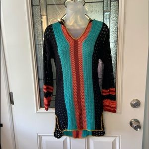 Art Class Multicolored Crocheted Hoodie